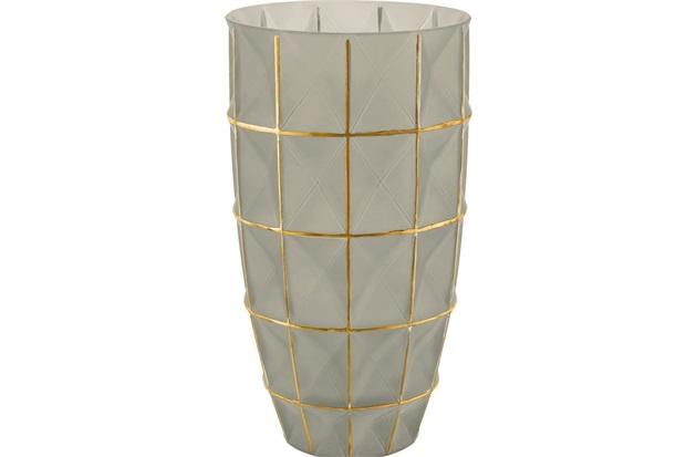 Vaso em Vidro Médio 25x14cm Fendi E Dourado - Mart