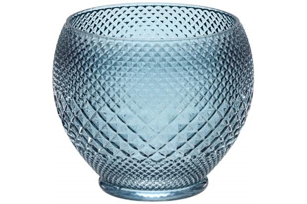 Vaso em Vidro Redondo 17x19cm Azul - Importado