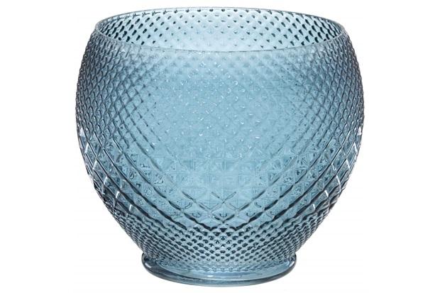 Vaso em Vidro Redondo 20,5x24cm Azul - Importado