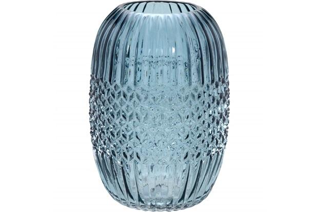 Vaso em Vidro Redondo 24,8x17,5cm Azul - Importado