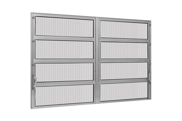 Vitrô Basculante de Alumínio 2 Seções Max Vidro Canelado 80x120cm - Ebel
